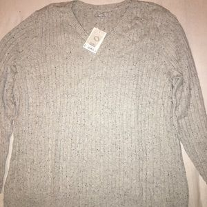 Classic light grey cable knit sweater